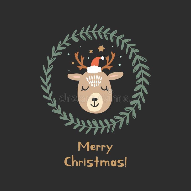 De vector leuke Kerstman van de winter polaire herten met tekst stock illustratie