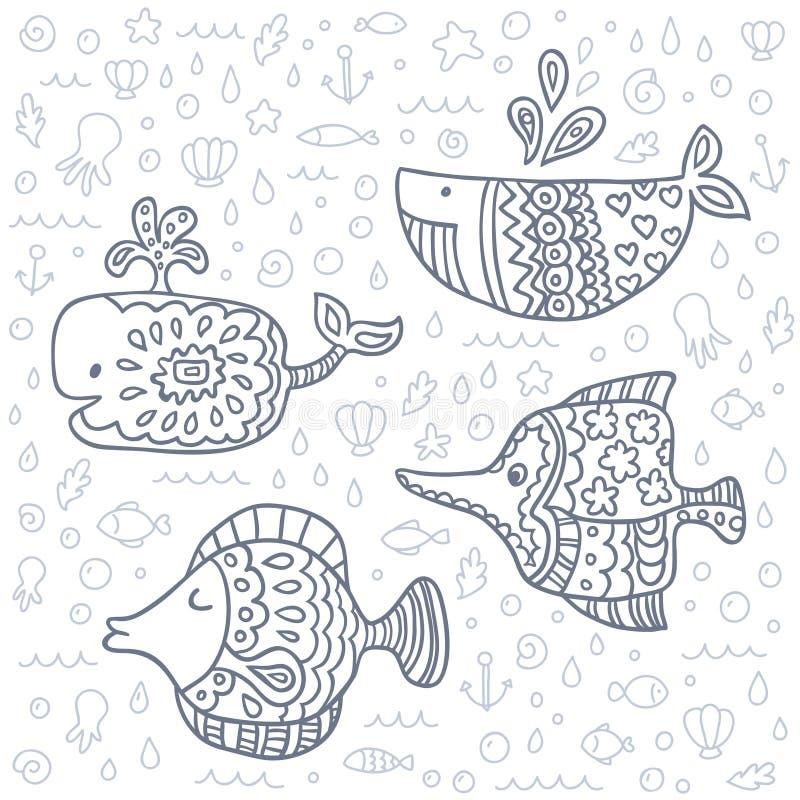 De vector leuke mariene reeks van de het levenskrabbel royalty-vrije illustratie