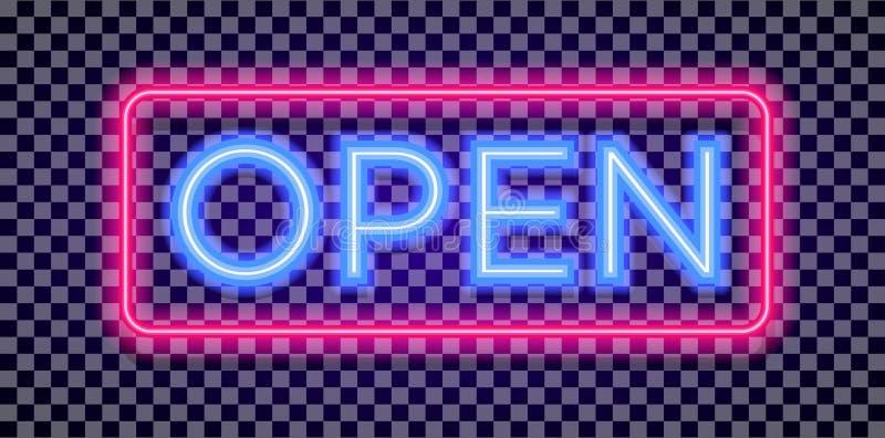 De vector lichte stijl van het neon open teken met kleurrijk rood kader stock illustratie