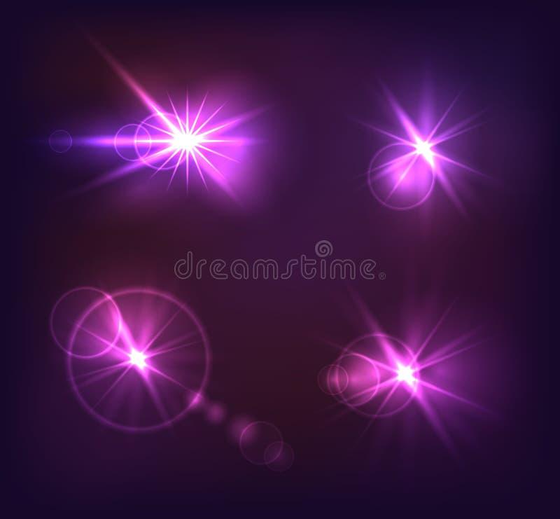De vector Lichteffecteninzameling, Heldere Purple glanst Elementen stock illustratie