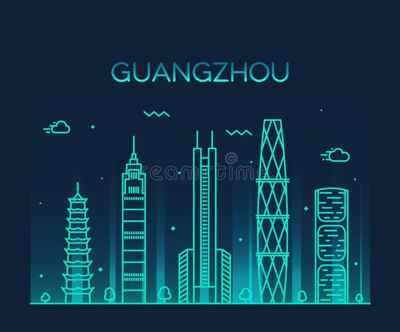 De vector lineaire illustratie van de Guangzhouhorizon stock illustratie