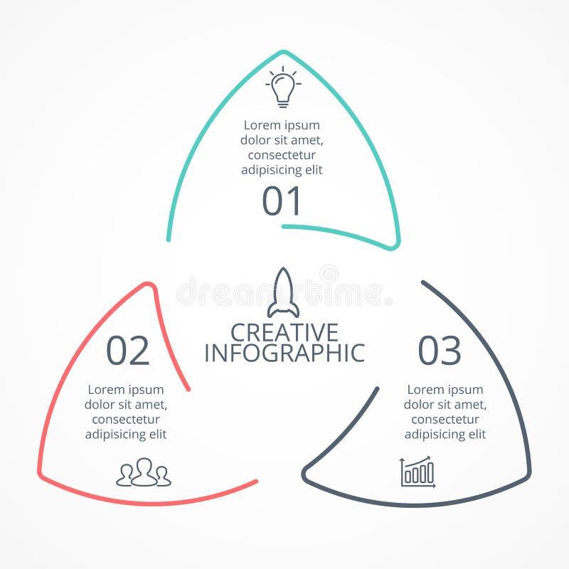 De vector lineaire infographic driehoek van cirkelpijlen, cyclusdiagram, grafiek, presentatiegrafiek Bedrijfsconcept met 3 stock illustratie