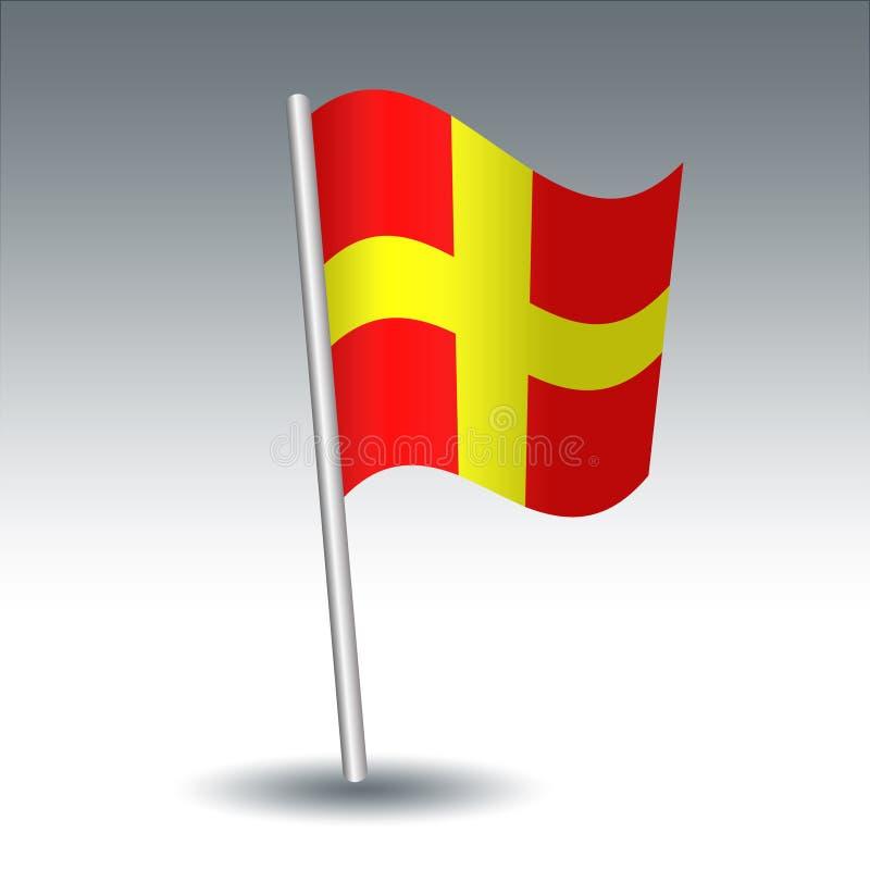 De vector maritieme Charmeur van de signaalvlag R op gehelde metaal zilveren pool - symbool van afstands - gele en rode kleur stock illustratie