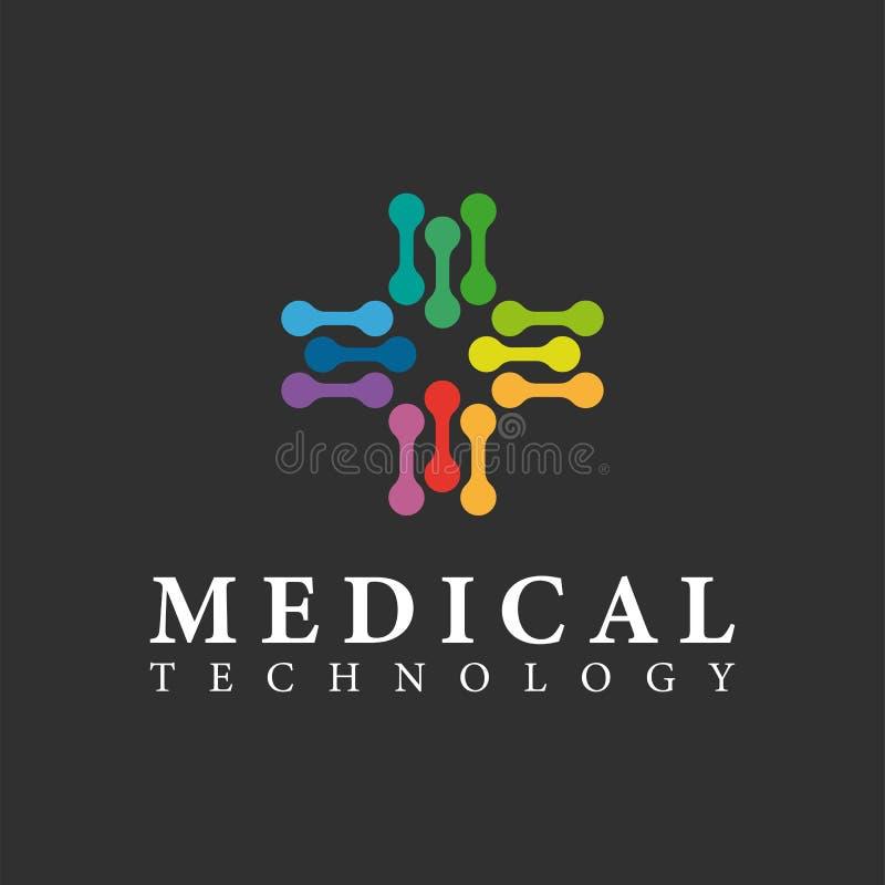 De vector medische ontwerpsjabloon van het technologieembleem kleurrijk vector illustratie