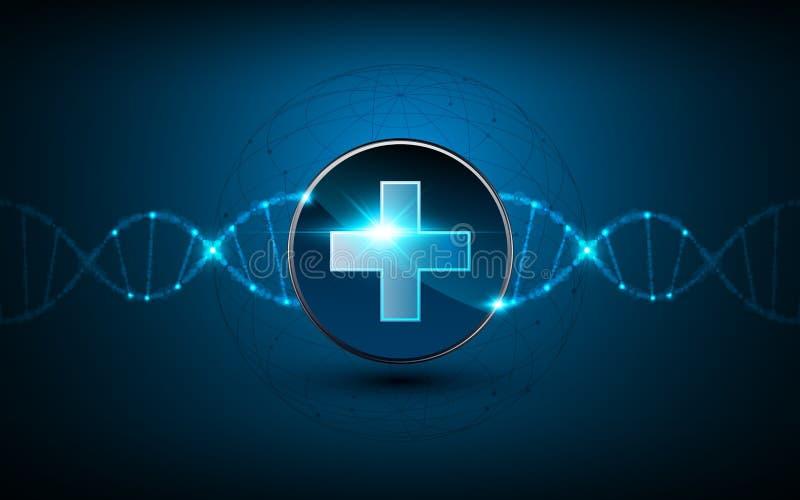 De vector medische van het conceptentechnologie van het gezondheidszorgembleem achtergrond van het de schroefontwerp van DNA van  stock illustratie