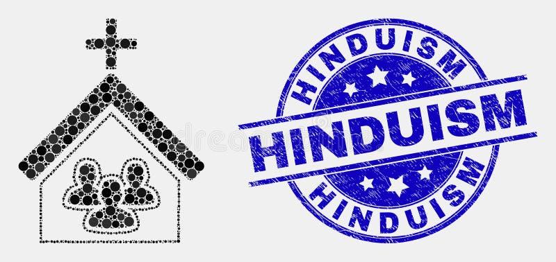 De vector de Mensenpictogram van de Pixelkerk en Verbinding van het Noodhindoeïsme stock illustratie