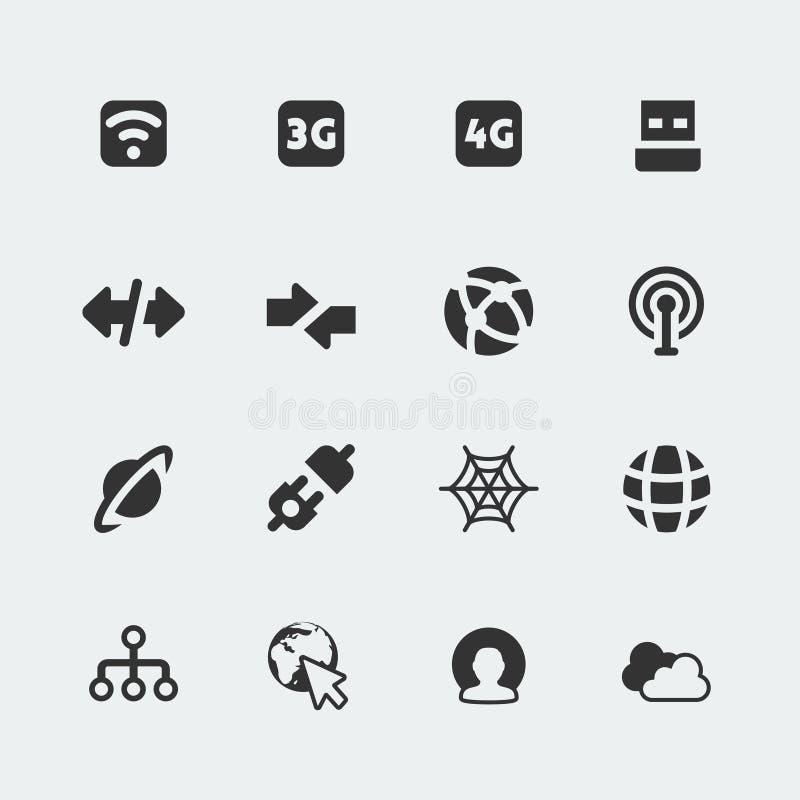 De vector mini geplaatste pictogrammen van Internet en van de verbinding royalty-vrije illustratie