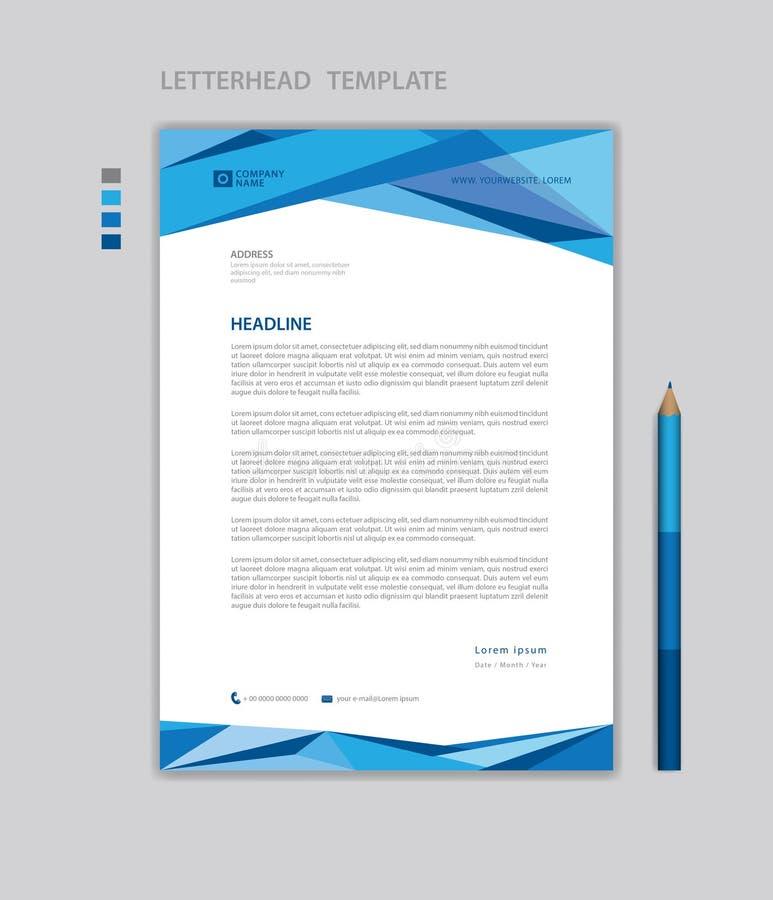 De vector, minimalistische stijl van het briefhoofdmalplaatje, drukontwerp, bedrijfsreclamelay-out, Blauw concept royalty-vrije illustratie