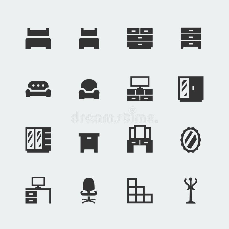 De vector minipictogrammen van het huismeubilair geplaatst #1 vector illustratie