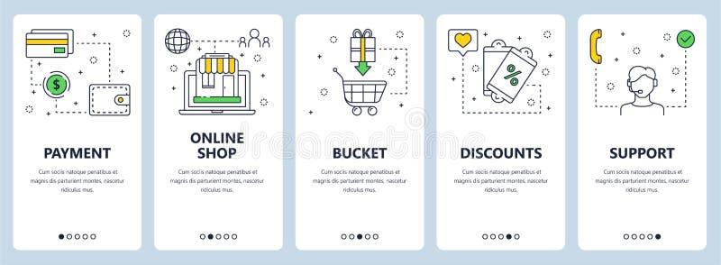 De vector moderne dunne banners van het het conceptenweb van de lijn online betaling stock illustratie
