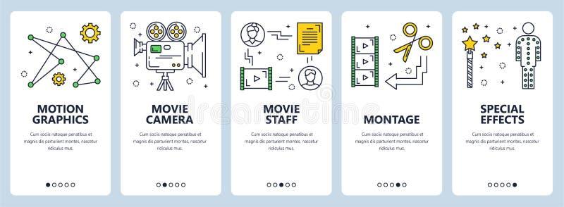 De vector moderne dunne banners van het het conceptenweb van de lijn videoproductie vector illustratie
