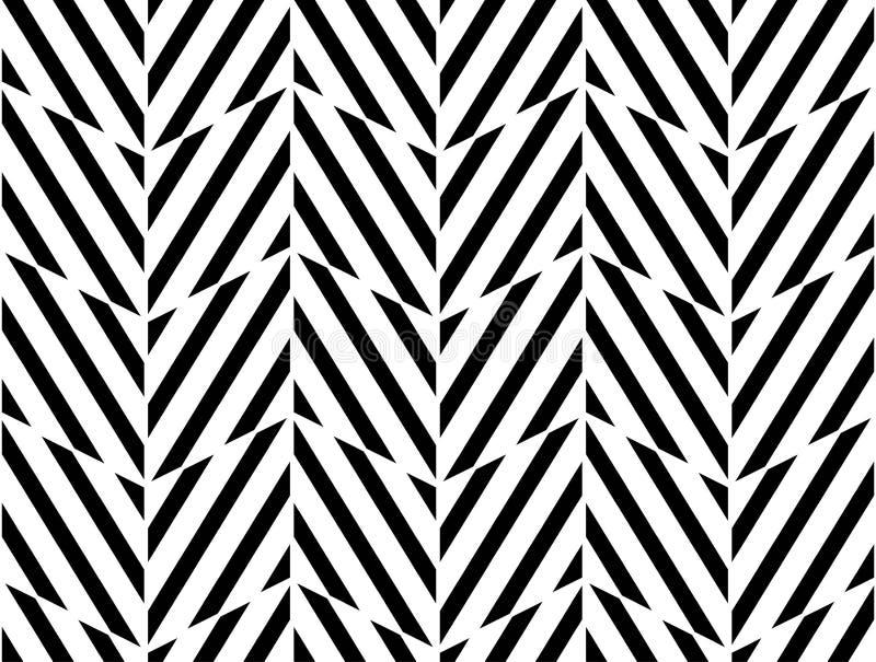 De vector moderne naadloze chevron van het meetkundepatroon, zwart-witte samenvatting vector illustratie