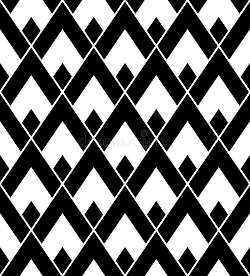 De vector moderne naadloze driehoek van het meetkundepatroon, zwart-witte samenvatting stock illustratie