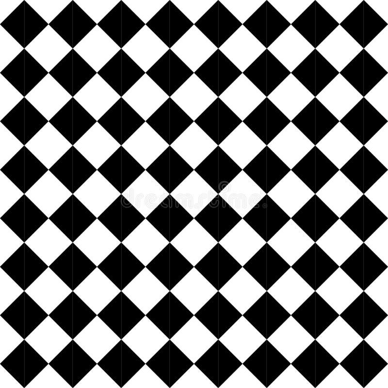 De vector moderne naadloze geruite, zwart-witte samenvatting van het meetkundepatroon stock illustratie