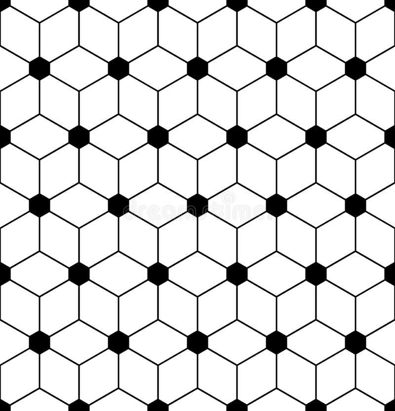 De vector moderne naadloze heilige bloem van het meetkundepatroon van het leven, zwart-witte samenvatting royalty-vrije illustratie