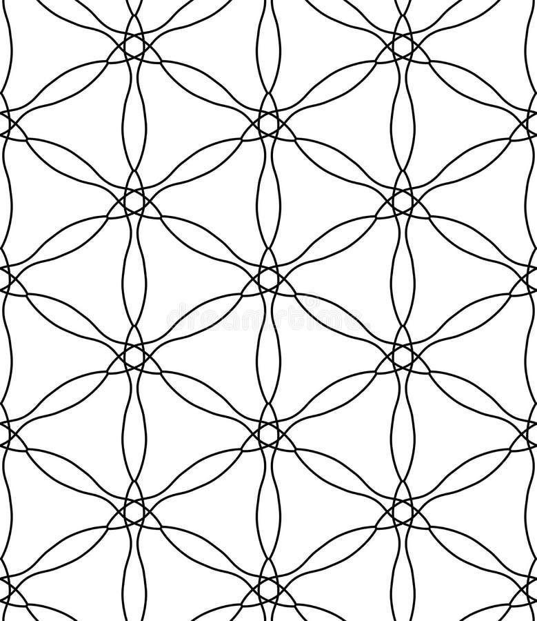De vector moderne naadloze heilige bloem van het meetkundepatroon van het leven, zwart-witte samenvatting vector illustratie