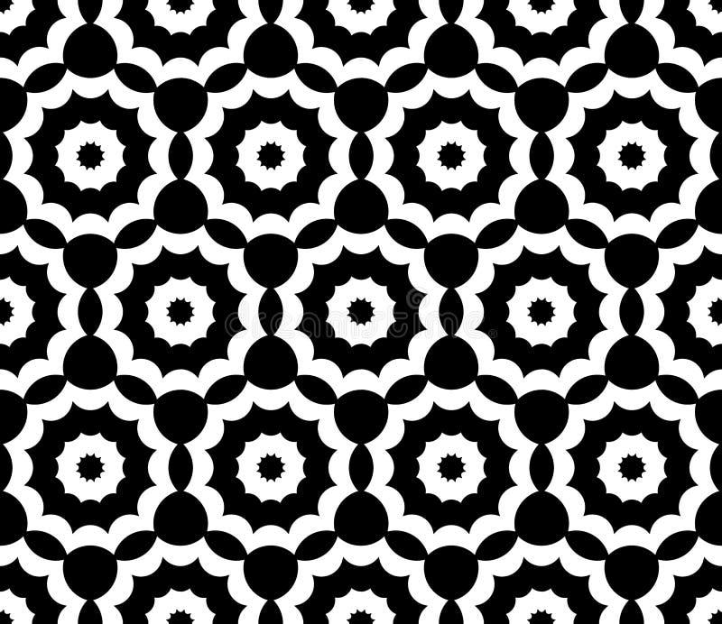 De vector moderne naadloze heilige bloemen, zwart-witte samenvatting van het meetkundepatroon royalty-vrije illustratie