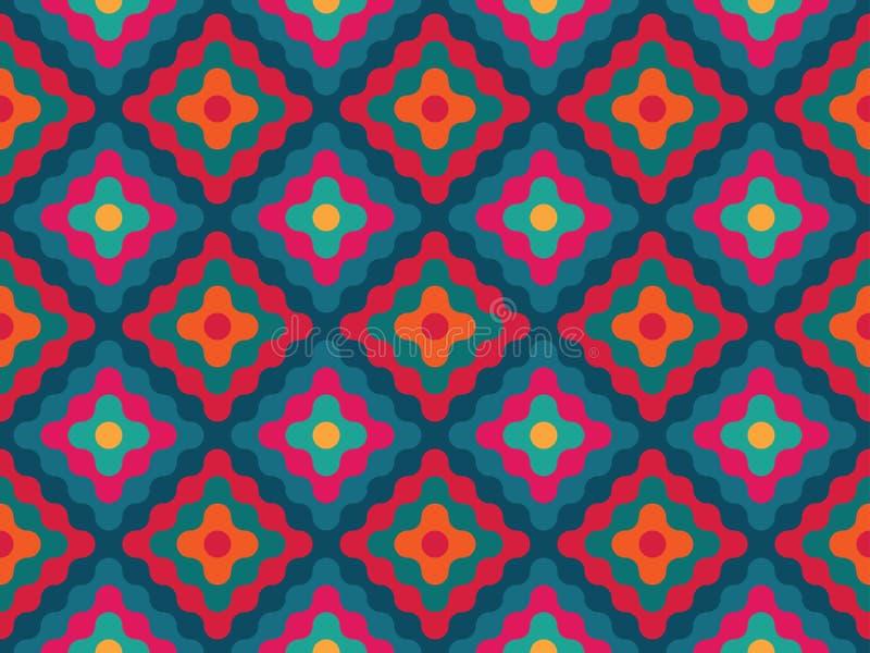 De vector moderne naadloze kleurrijke diamanten van het meetkundepatroon royalty-vrije illustratie