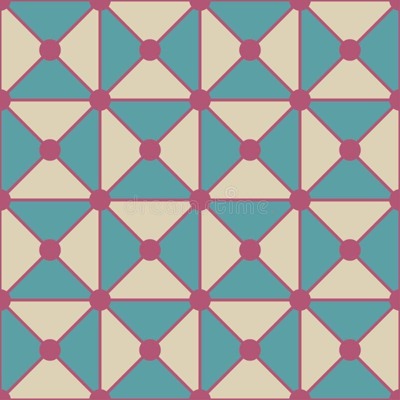 De vector moderne naadloze kleurrijke meetkundedriehoeken stippelt patroon, kleuren witte blauwe samenvatting stock illustratie