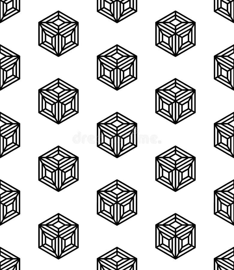 De vector moderne naadloze kubussen van het meetkundepatroon, zwart-witte samenvatting royalty-vrije illustratie