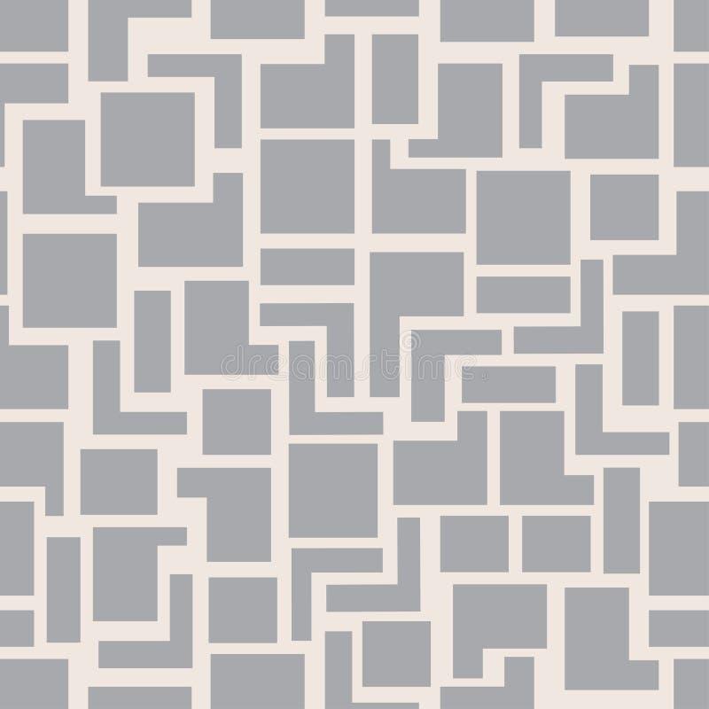 De vector moderne naadloze vierkanten van het meetkundepatroon, grijze abstracte geometrische achtergrond, zwart-wit retro textuu vector illustratie
