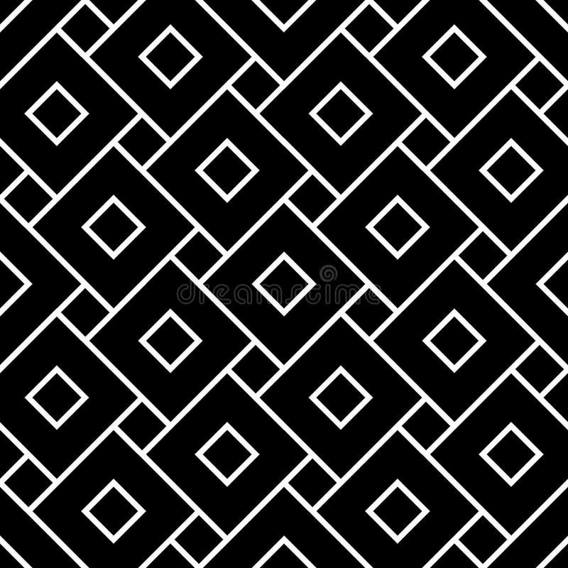 De vector moderne naadloze vierkanten van het meetkundepatroon, zwart-witte samenvatting vector illustratie