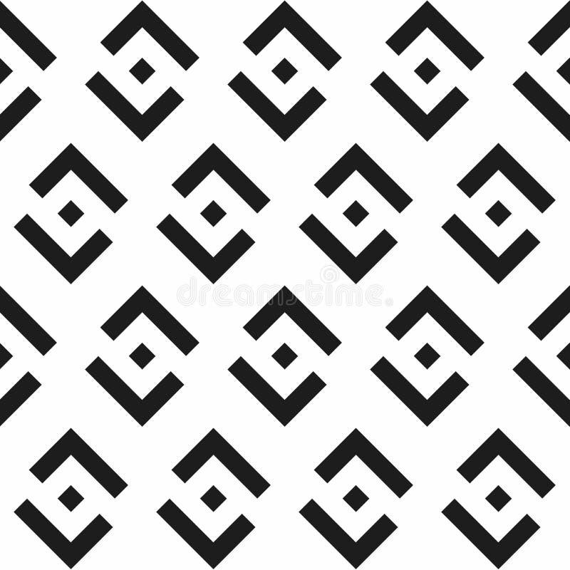 De vector moderne naadloze zwart-witte vierkanten van het meetkundepatroon, royalty-vrije illustratie