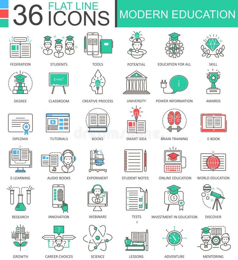 De vector Moderne pictogrammen van het de lijnoverzicht van de onderwijskleur vlakke voor apps en Webontwerp Internet-onderwijspi stock illustratie