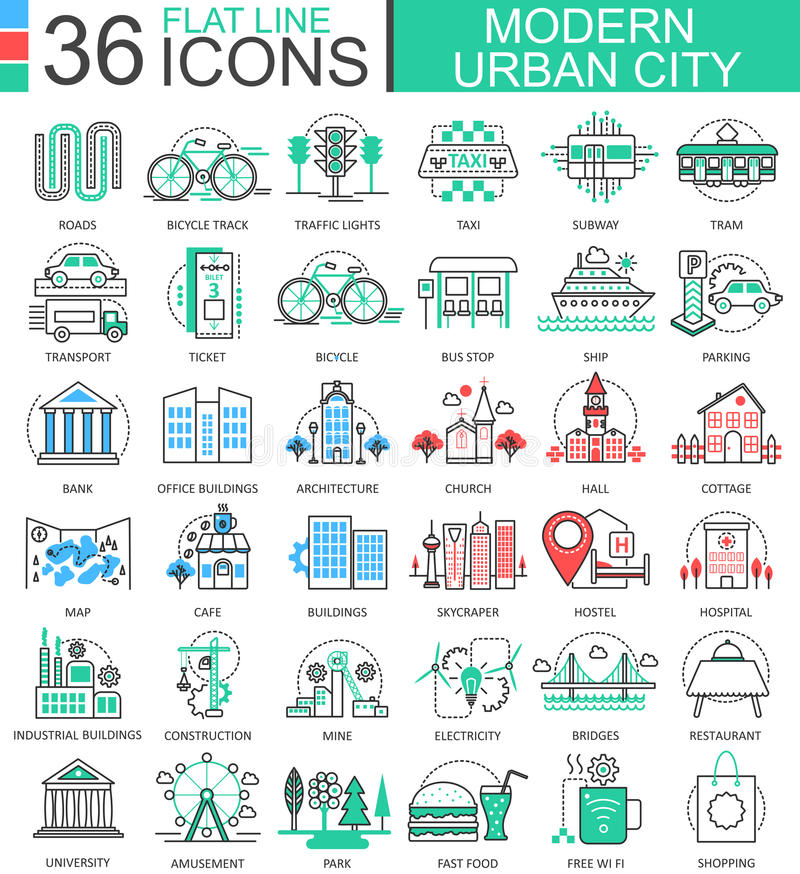 De vector Moderne pictogrammen van het de lijnoverzicht van de stadskleur vlakke voor apps en Webontwerp De stedelijke Elementen  royalty-vrije illustratie