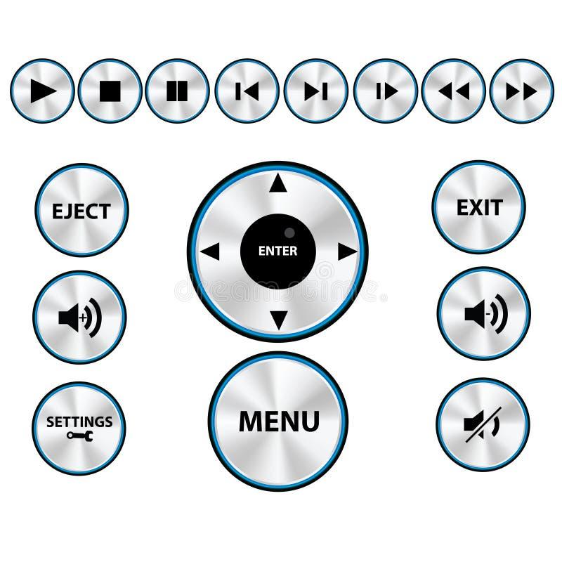 De vector Moderne Reeks van de Knoop van de speler van Media stock afbeeldingen