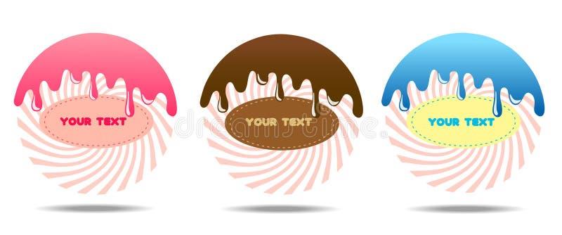 De vector moderne reeks van stijlpictogrammen van 3 suikergoedproducten en suikergoed De pictogrammen zijn groot voor een opslags royalty-vrije illustratie