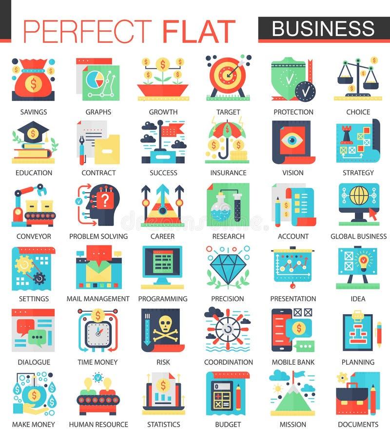 De vector Moderne symbolen van het bedrijfs vector complexe vlakke pictogramconcept voor Web infographic ontwerp stock illustratie