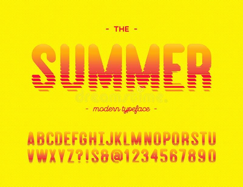 De vector moderne typografie van de de zomer kleurrijke doopvont royalty-vrije illustratie