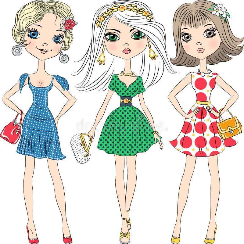 De vector mooie hoogste modellen van maniermeisjes royalty-vrije illustratie