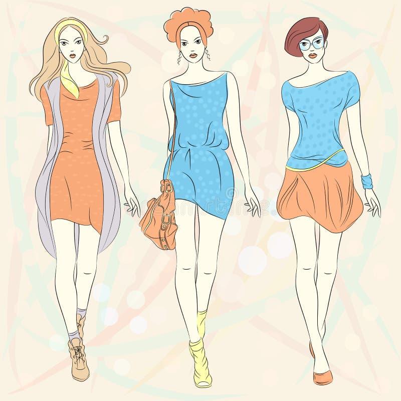 De vector mooie hoogste modellen van maniermeisjes in kleding vector illustratie