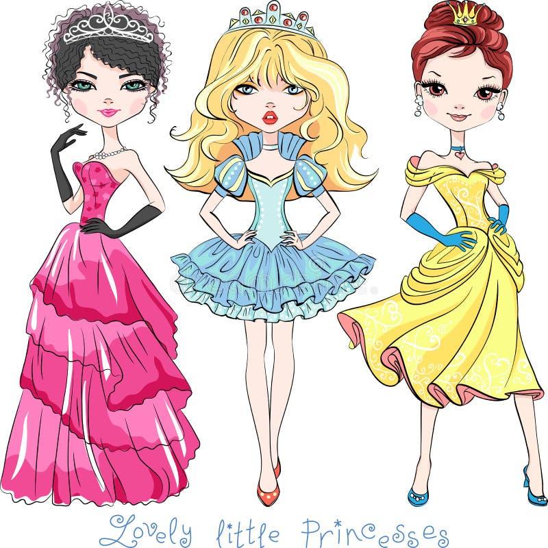 De vector mooie prinsessen van het maniermeisje vector illustratie