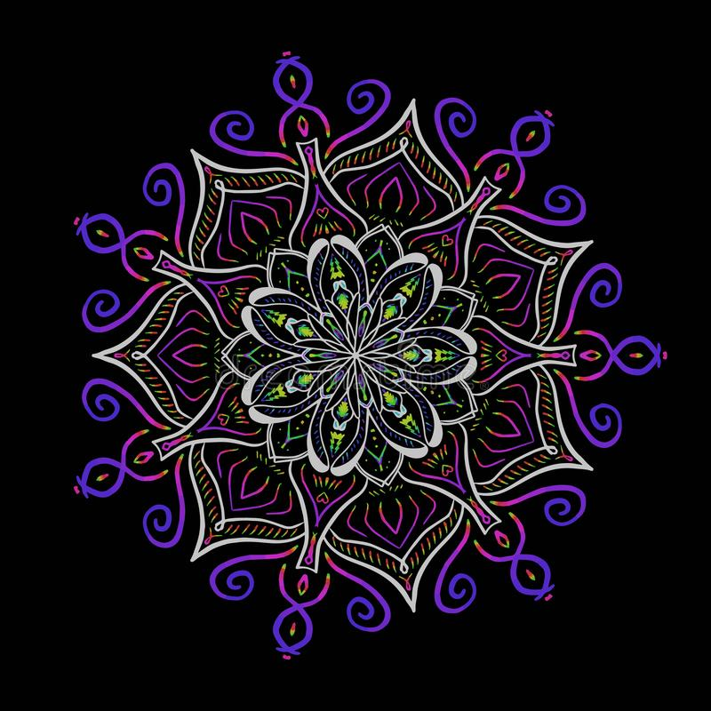 De vector multicolored Boheemse cirkel van de ornamentdecoratie Sier bloemenmandala stock illustratie