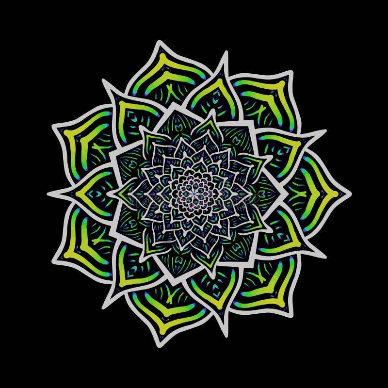 De vector multicolored Boheemse cirkel van de ornamentdecoratie Sier bloemenmandala royalty-vrije illustratie