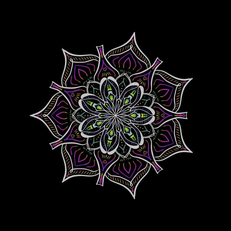 De vector multicolored Boheemse cirkel van de ornamentdecoratie Sier bloemenmandala vector illustratie