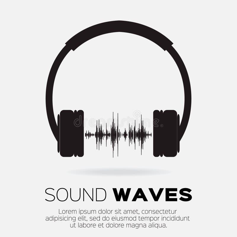 De vector muzikale stijl van DJ - hoofdtelefoons met correcte golven royalty-vrije illustratie