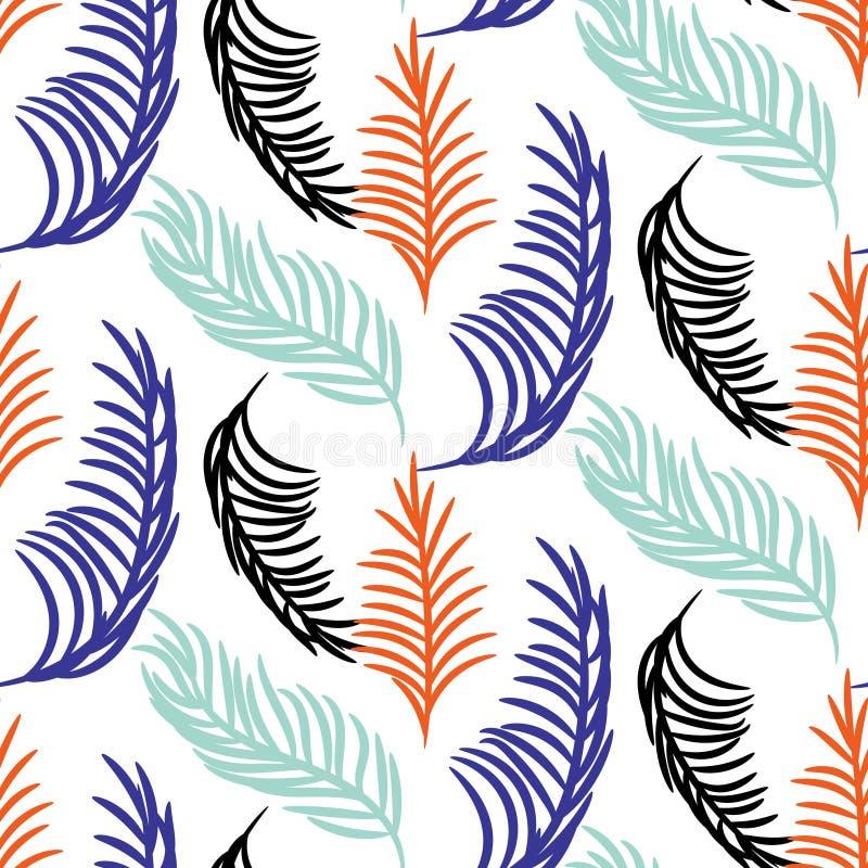 De vector naadloze achtergrond van palmbladeren vector illustratie
