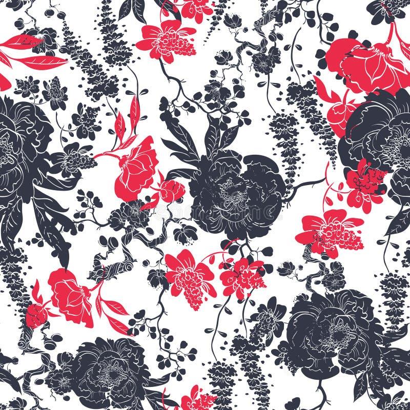 De vector Naadloze Bloemen van de Houtskool Rode Kimono stock illustratie