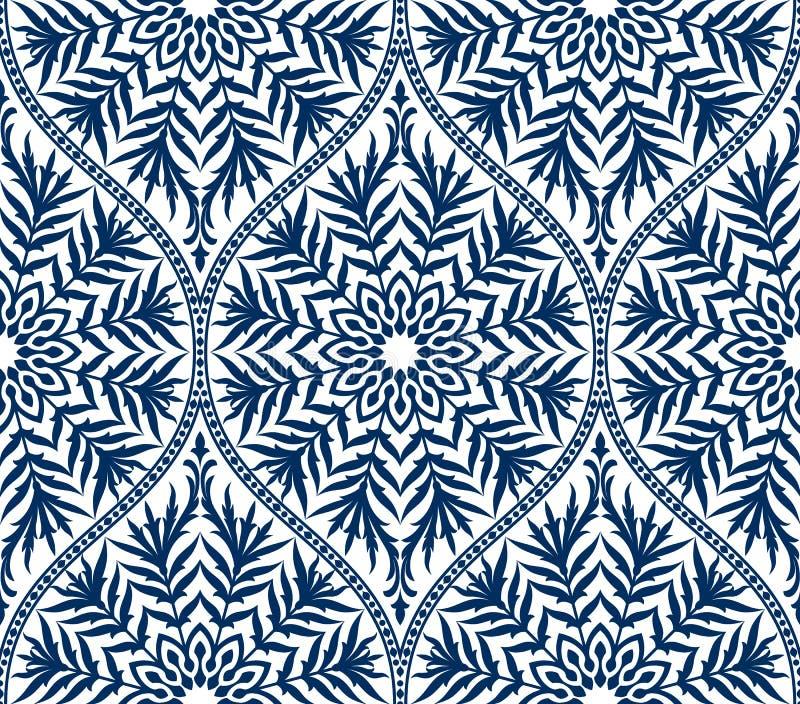 De vector naadloze bloemenachtergrond van het damastornament vector illustratie