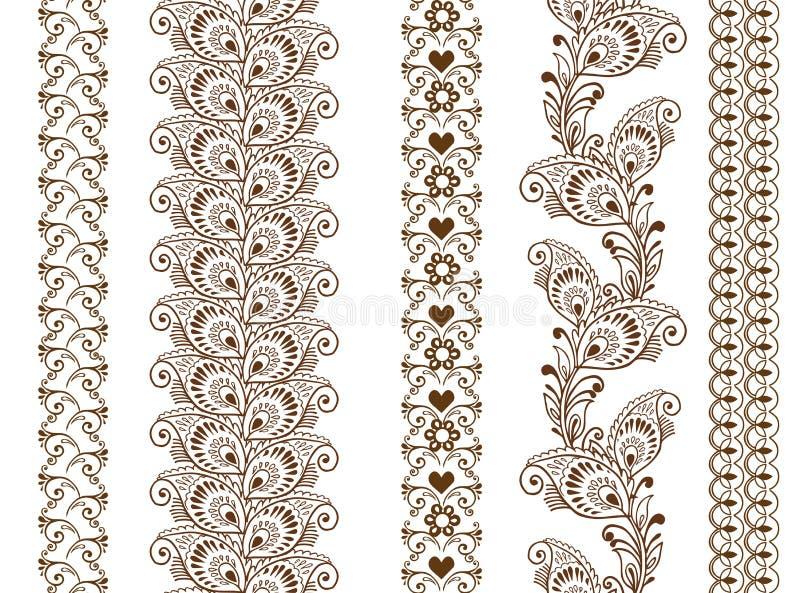 De vector naadloze grenzen van de reeks sier Indische Henna stock illustratie