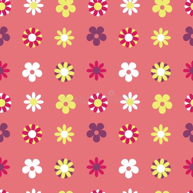 De vector Naadloze Hippie van het Patroon Roze Net Bloemen stock illustratie