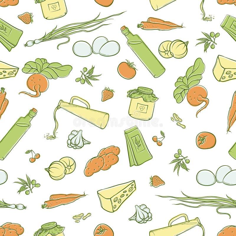 De vector naadloze illustratie van de patroonschets van een reeks organische natuurlijke die producten, in de vorm van kaders, et royalty-vrije illustratie