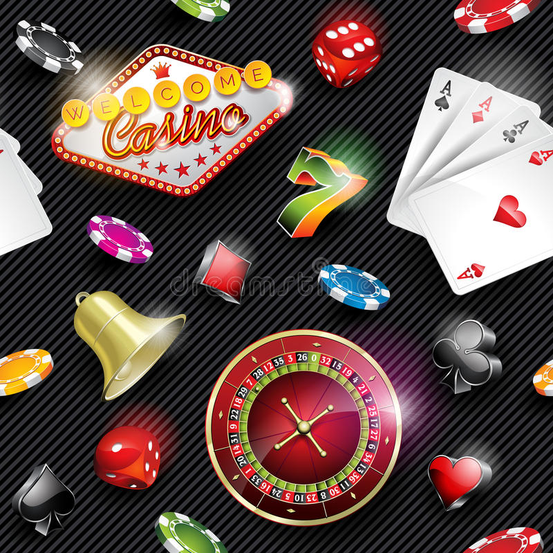 De vector naadloze illustratie van het casinopatroon met het gokken elementen op donkere gestreepte achtergrond royalty-vrije illustratie