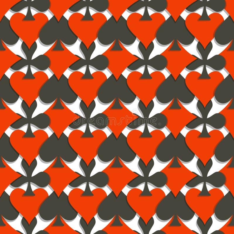 De vector Naadloze Kostuums van Patroonkaarten stock illustratie