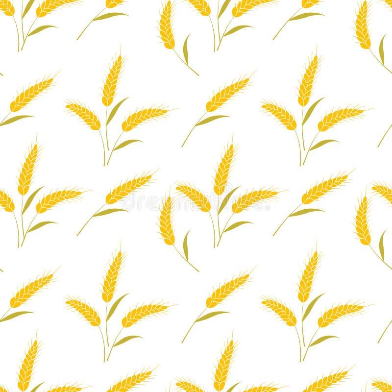 De vector naadloze oren van de patroonillustratie van tarwe Hand getrokken bakkerijachtergrond stock afbeelding