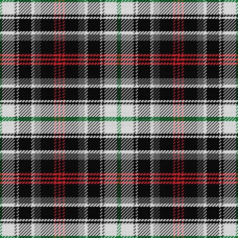 De vector naadloze panda van het patroon Schotse geruite Schots wollen stof stock illustratie